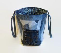 Extra Large Jean Tote Bag Denim Blue Jean by SuzqDunaginDesigns