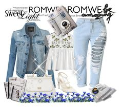 """""""Romwe contest"""" by azrahadzic ❤ liked on Polyvore featuring LE3NO, Dolce&Gabbana, Valentino and 7 For All Mankind"""