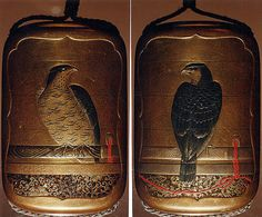 Perched Hawk, signed Kakosai. Lacquer, kinji, gold, silver, black and red hiramakie, nashiji, aogai; Interior: nashiji and fundame. 19th century. The Met.