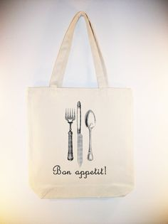 Vintage French flatware Bon Appetit Canvas Tote  by Whimsybags, $12.00