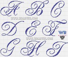 Gráfico de letras para ponto cruz: A, B, C, D, E, F, H e I