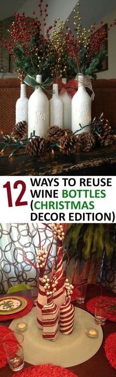 12 Ways to Reuse Wine Bottles (Christmas Decor Edition) Diy Wine Bottle Crafts diy holiday wine bottle crafts Noel Christmas, Primitive Christmas, Rustic Christmas, Christmas Things, Christmas Lights, Christmas Island, Christmas Vacation, Christmas 2019, Christmas Projects
