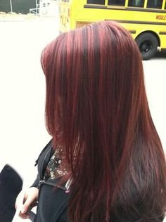 True-red highlights on dark hair! This is my natural hair color. Believe it or not!!