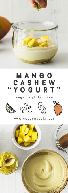 """Vegan Mango Cashew """"Yogurt"""", the perfect option for a healthy summer breakfast. This recipe is 100% plant-based, delicious and very easy to make."""