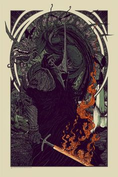 Florian Bertmer Witch King & Fell Beast Lord of the Rings Poster Release from Mondo