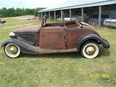 For Sale: 1934 Ford Cabriolet in Parkers Prairie, Minnesota Acrylic Painting Trees, Ford Roadster, Abandoned Cars, Old Cars, Minnesota, Antique Cars, Transportation, Classic Cars, Restoration