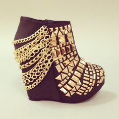 Gold and black wedges