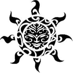 Another Polynesian sun tattoo design