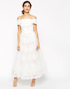 Enlarge Chi Chi London Premium Embroidered Off Shoulder Prom Dress In Longer Length