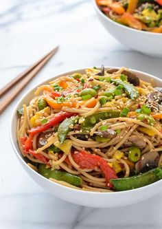 Easy Veggie Lo Mein recipe that's perfect for busy weeknights. Filled with protein, veggies and gluten free!