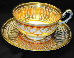 ROYAL CHELSEA WIDE GOLD CATHEDRAL TEA CUP AND SAUCER in Pottery & Glass | eBay