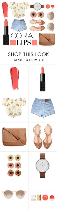 """""""Coral"""" by mer-aki ❤ liked on Polyvore featuring beauty, NARS Cosmetics, Wet Seal, CO, Zara, mae, Skagen, GlassesUSA and Korres"""