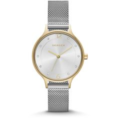 Skagen Anita Silver Dial Stainless Steel Mesh Bracelet Ladies Watch ($80) ❤ liked on Polyvore featuring jewelry, watches, analog wrist watch, stainless steel watches, skagen wrist watch, mesh watches and analog watches