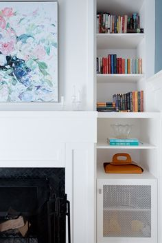 From our character home redesign on West 10th Avenue in Vancouver, BC *Re-pin to your own inspiration board* Character Home, Find Work, Inspiration Boards, Vancouver, Bookcase, This Is Us, Shelves, Interior Design, Projects