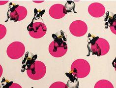 Crown French Bulldog  Spot Dot Oxford Trefle Kokka Japanese Fabric Natural White  50cm