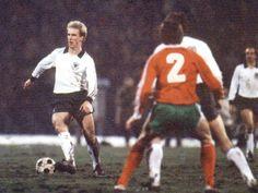 Bulgaria 1 West Germany 3 in Dec 1980 in Sofia. Midfield maestro Karl-Heinz Rummenigge in action in the World Cup qualifier.