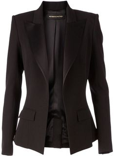 Black wool blend fitted blazer from Alexandre Vauthier featuring peaked lapels, an open front, long sleeves, front flap pockets and a rear central vent. Blazer Jackets For Women, Work Jackets, Alexandre Vauthier, Look Blazer, Mantel, Outerwear Jackets, Ideias Fashion, Blazers, Fashion Outfits