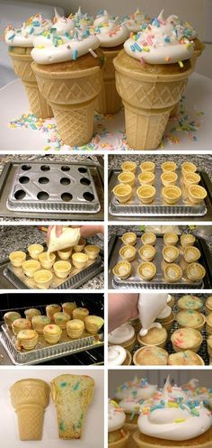 Ice Cream Cone Cupcakes with a custom pan! Ice Cream Cone Cupcakes with a custom baking pan. All you need are ice cream cones, cake batter, and icing. Great for kids birthday parties! Yummy too. Just Desserts, Delicious Desserts, Dessert Recipes, Kabob Recipes, Baking Recipes, Delicious Cupcakes, Yummy Cakes, Baking Ideas, Oreo Desserts