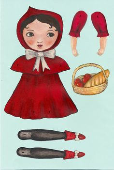 Little Red Riding Hood paper cut out doll by theformidableforest