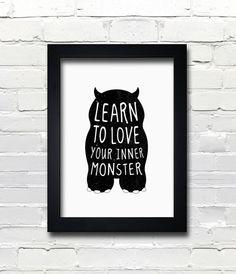 A3 cute monster print, birthday gift, kids bedroom - Learn to love your inner monster. $22.00, via Etsy.