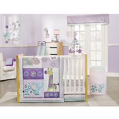 Dressed up in flowers, the playful animals of Carter's Zoo Garden Crib Bedding Collection will delight your little miss. This charming set features cheery shades of purple and blue with whimsical appliques for an irresistibly sweet look.