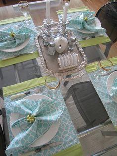 Fabric napkins and beaded napkin rings. Toast slice holder used for coasters.