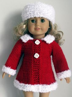 Mad Men classic A-line Coat & Hat AG American Girl 18 inch doll Knitting pattern (041)