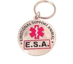 """Engraved and coated metal """"Emotional Support Animal E.S.A"""" Tag."""