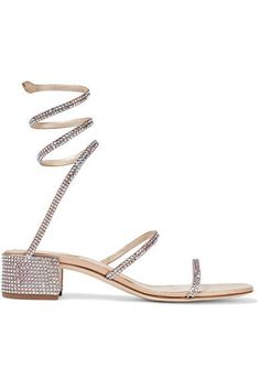 René Caovilla - Crystal-embellished Satin And Leather Sandals - Beige
