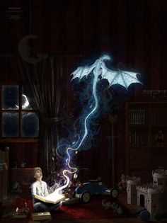 The magic of books and dragons Fantasy Dragon, Dragon Art, Dragon Book, Fantasy Creatures, Mythical Creatures, Fantasy World, Fantasy Art, Breathing Fire, Dragons