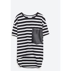 Zara T-Shirt With Pocket ($20) ❤ liked on Polyvore featuring tops, t-shirts, striped, black tee, black pocket t shirt, pocket t shirts, striped top and black top