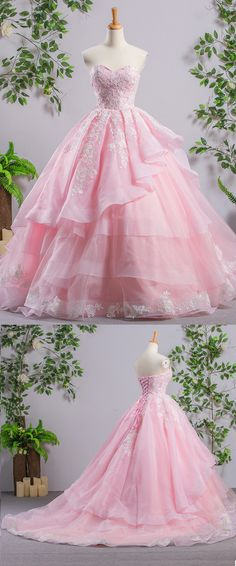 Princess pink tulle court train prom dress