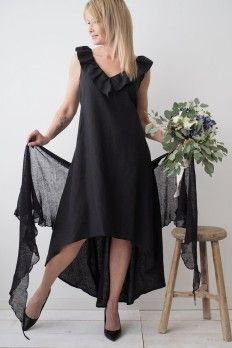 LINEN FAIRY Linen dress, BLACK