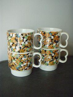 vintage floral stacking mugs