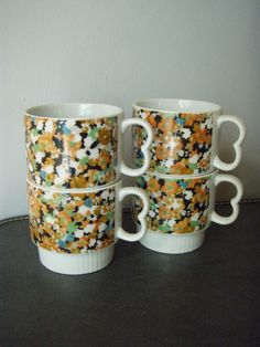 vintage floral stacking mugs