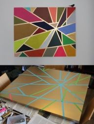 link in with maths and geometry / shapes. paint different colours or use oil pastels (give students the task of shapes next to each other must have different colours) and put down masking tape, pull up the tape when finished. decorate by hanging around the classroom