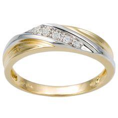 Palm Beach Jewelry PalmBeach Men's 1/10 TCW Round Diamond 10k Yellow Gold Diagonal Wedding Band Ring
