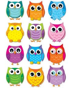 colorful owls cut outs - Printable Owl Pictures