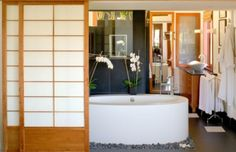 Bathroom, Modern Bathroom Design Colors White Bathroom Vanities Cabinets Japanese Bathroom With Oval Bathtub Surrounded By Stone Pebbles: Eye-Catching Japanese Bathroom Design Small Space
