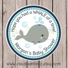 PRINTABLE Whale Baby Shower Favor Tags / Navy Blue by ciaobambino