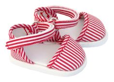 American Girl Doll Red and White Strap Shoes