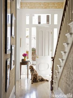 Beautiful white painted front door. Designer Gwen Driscoll, New Orleans. House Beautiful May 2015