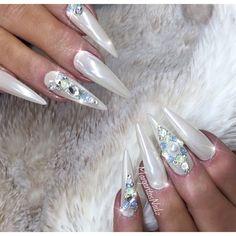 White Chrome Stilettos by MargaritasNailz Swarovski crystals and pearl nail art design spring nail ideas