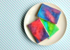 watercolor cookies with marshmellow foundant icing Sugar Cookie Icing, Fondant Cookies, Galletas Cookies, Sugar Cookies, Edible Crafts, Edible Art, Cookie Recipes, Dessert Recipes, Desserts