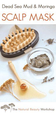 Scalp Mask with Dead Sea Mud & Moringa Oil – Natural Hair Recipe - Modern Natural Hair Recipes, Hair Care Recipes, Natural Hair Tips, Natural Hair Styles, Diy Cosmetic, Scalp Mask, Totes Meer, Dead Sea Mud, Homemade Beauty