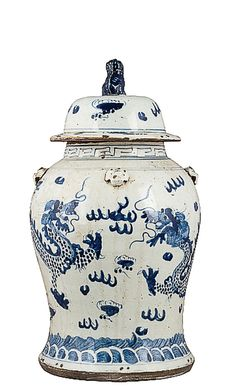Blue and White Chinese Porcelain Dragon Ginger Jar – The Pink Pagoda TWO please