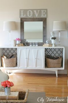 Love the wallpaper in the open space and basket with wood; great idea for my bedroom dresser