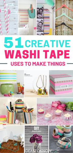 There's almost nothing a washi tape can't fix, from your boring mood to your boring room(wow washi tape uses). If it involves creativity, it means washi tape! So if you wanna get creative with washi tape, checkout these washi tape craft ideas. Diy Washi Tape Crafts, Washi Tape Uses, Washi Tape Cards, Masking Tape, Duct Tape, Crafts For Teens, Fun Crafts, Diy And Crafts, Paper Crafts