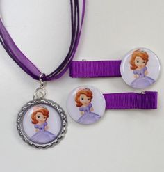 Princess Sofia the First Boutique Bottlecap Pendant Necklace with matching Hair Clips jewellery set by OliverandMay, $9.50