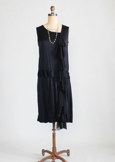 Vintage 1920s Silk Chiffon Waterfall Flapper Dress